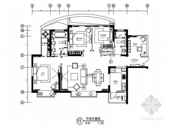 [成都]超级国际社区三居室样板间装修施工图