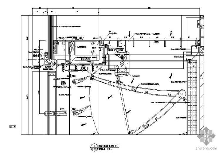 某双曲面单元双层幕墙节点构造详图
