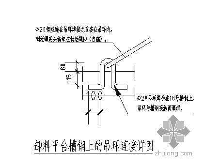 某悬挑卸料平台槽钢上吊环连接详图