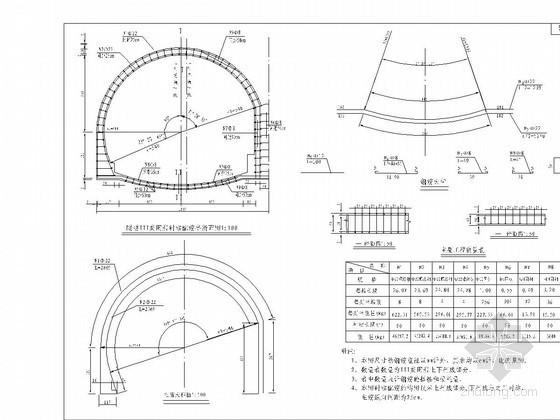 双跨连拱结构隧道III类围岩衬砌竣工图