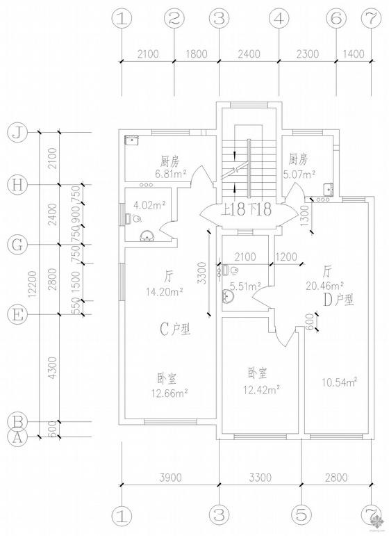 板式多层一梯两户户型图(52/71)