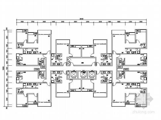 [重庆]某公租房一梯十二户户型图
