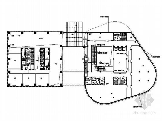 [上海]某现代风综合办公楼电梯间及卫生间室内装修施工图(含效果)