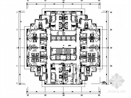 [江苏]某五星级酒店角客房室内装修施工图