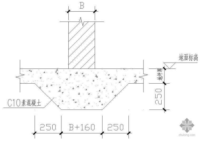 某内隔墙条形基础做法节点构造详图