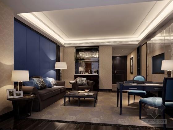 现代欧式客厅3D模型下载