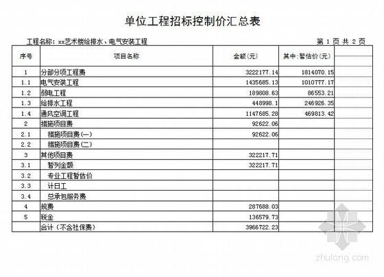 [山东]2013年艺术楼给排水、电气安装工程招标控制价