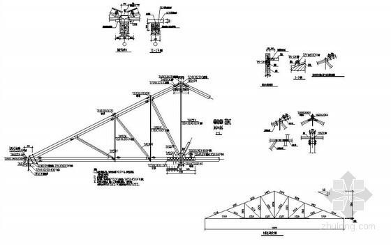 某14米跨三角形木屋架节点详图