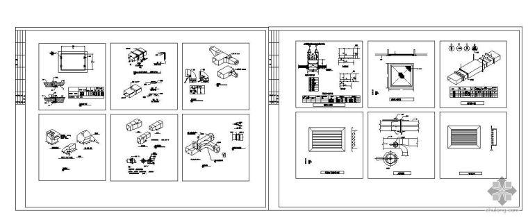风管风口管件阀门安装节点图