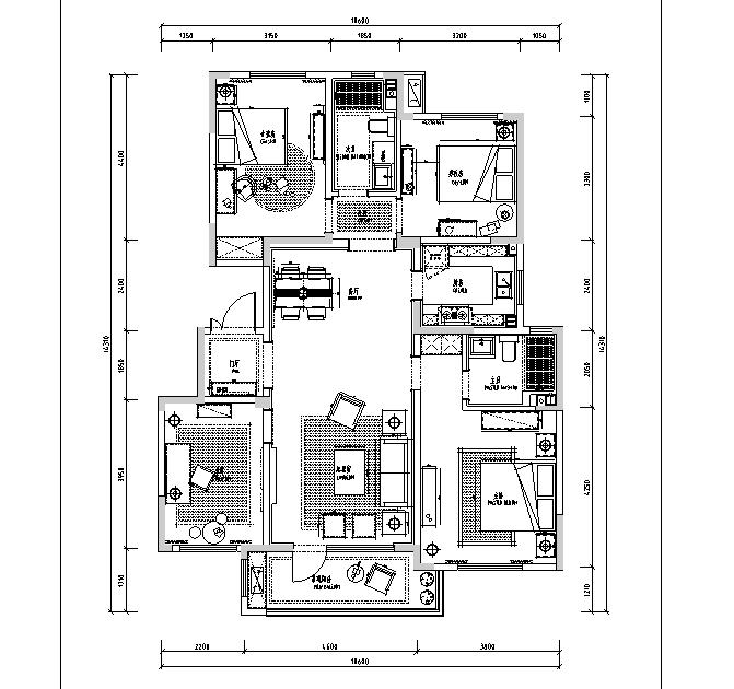【山东】法式浪漫样板间设计施工图(附效果图)_2