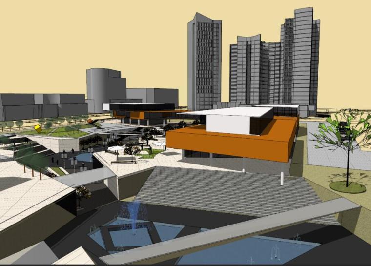 现代风格商业下沉广场模型设计