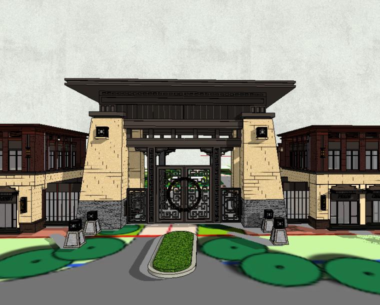 新中式入口大门模型设计