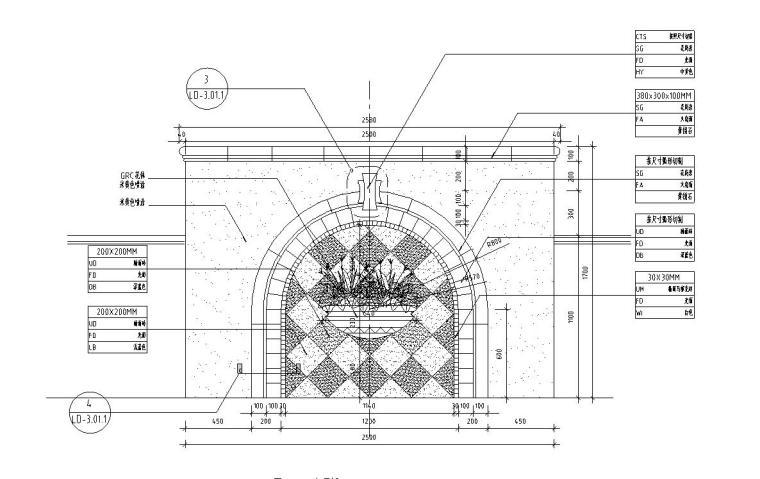 欧式风格景观墙设计详图(混凝土结构)——泛亚景观