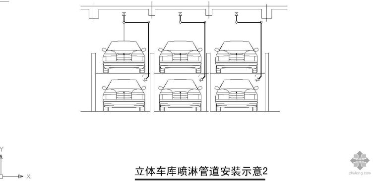 立体车库喷淋管道安装示意图