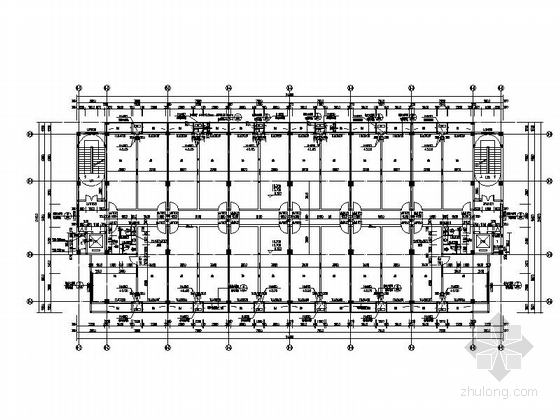 [湖北]八层框架结构涂料外墙办公楼建筑施工图-八层框架结构涂料外墙办公楼建筑平面图
