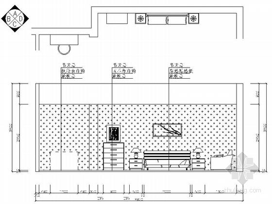 现代高档复式样板间装修施工图(含效果)主卧立面图
