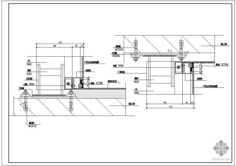 某玻璃幕墙及铝合金型材节点构造详图(六)