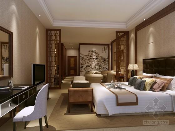 中式风格酒店标准间3d模型下载