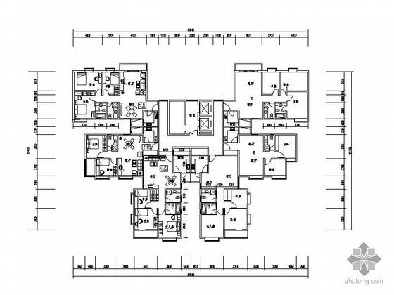 塔式高层一梯六户型图(112/78/103)