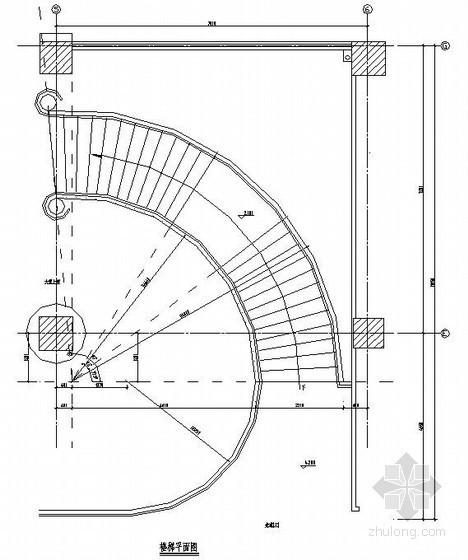 某弧形钢楼梯结构设计图