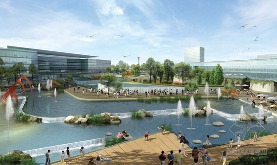 城市滨水地块规划效果图