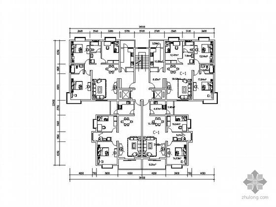 塔式多层一梯四户型图(133/99)