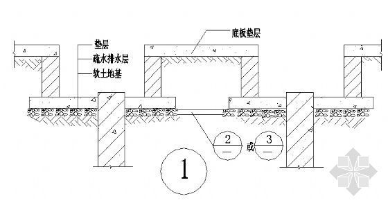 基坑(或桩承台)、疏排水通管道断面图