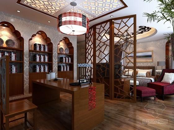 中式风格带书房的卧室3d模型下载