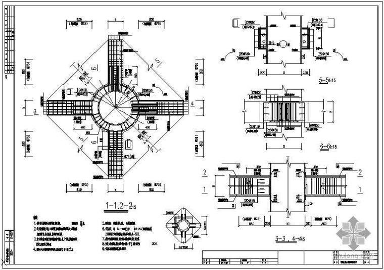 某钢管混凝土柱A,B型梁柱节点配筋大样(图集)节点构造详图