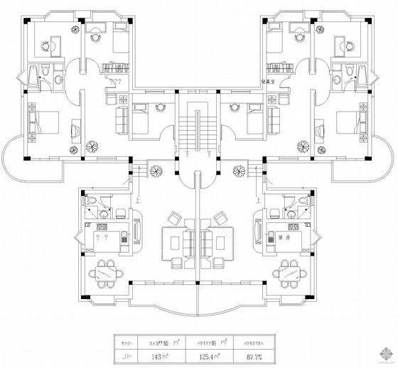 板式多层一梯二户户型图(143/143)