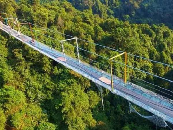 又一座让人腿软的桥!广西首座玻璃悬索桥近日开通