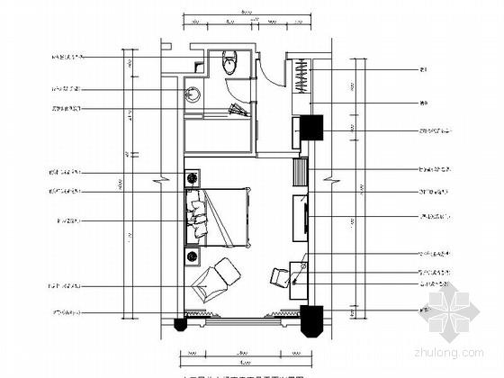 [广东]酒店欧式客房单人间装修CAD施工图(含效果)