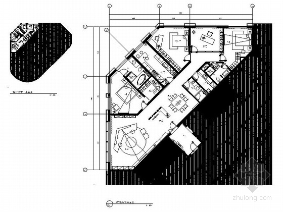 [青岛]现代风格四室二厅时尚住宅装修室内施工图(含实景和效果)