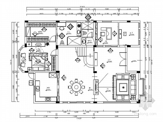 [广州]优雅双层别墅现代风格装修施工图(含效果图)