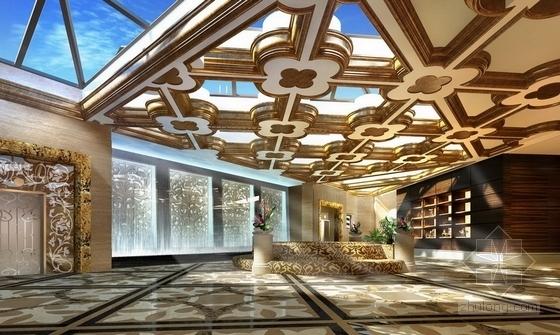 [深圳]城市中心区奢华典雅酒店设计CAD施工图(含效果)前厅效果图