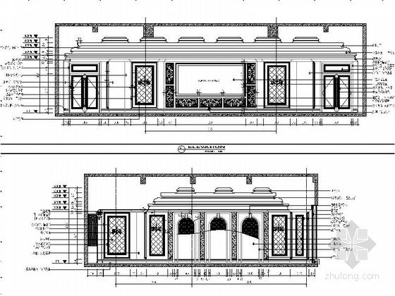 [苏州]奢华欧式风格商务会所四层卧室休息区室内装修图(含效果) 影视厅立面