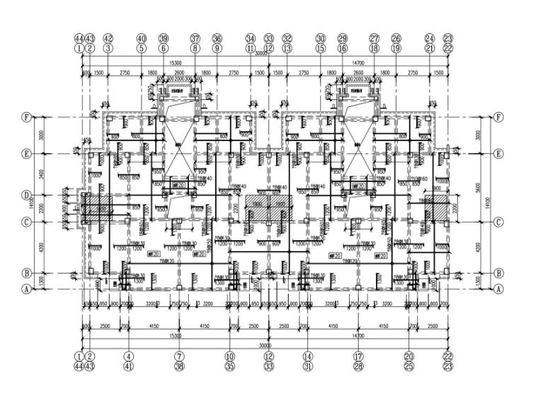 [宁夏]6层框架结构商住楼全套施工图(建筑结构暖通电气)