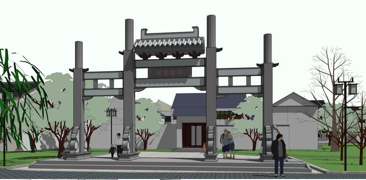 中式南方商业街sketchup模型