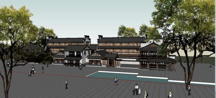 新中式商业街建筑SU模型