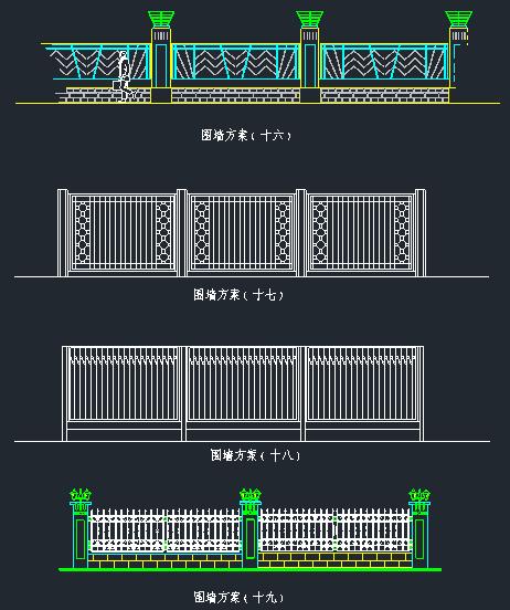 围墙铁艺栏杆方案CAD图_6