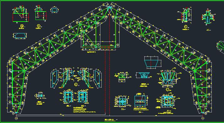 35m格构式门式刚架设计图