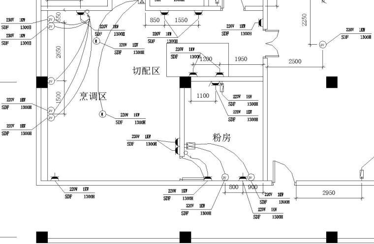 某厨房设备电系统图