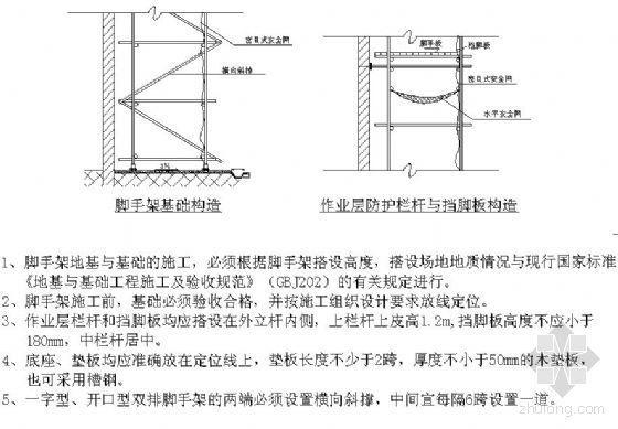 脚手架基础、作业层防护栏杆与挡脚板构造详图