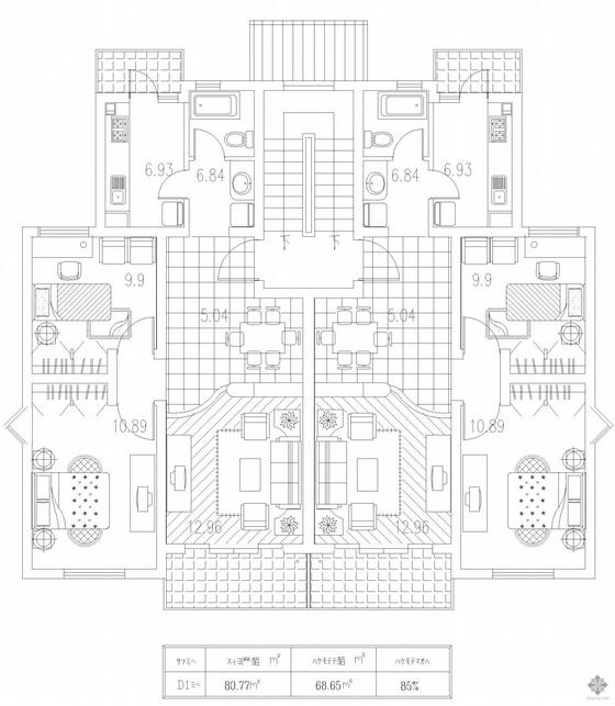 板式多层一梯二户户型图(81/81)