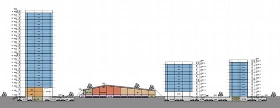 [成都]大中型企业产业园办公集群规划设计方案文本-大中型企业产业园办公集群剖面图