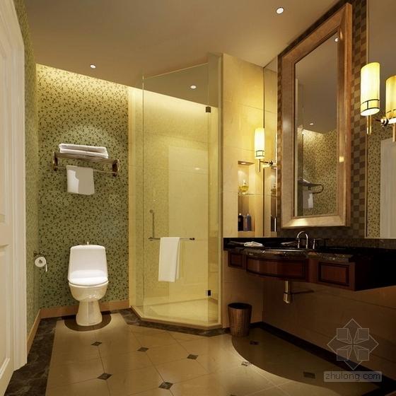 [苏州]社区型中心高档酒店客房装修施工图(含效果)卫生间效果图