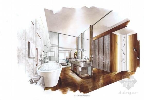 [四川]全球最大酒店客房电梯厅室内装修设计施工图(含方案效果)浴室效果图