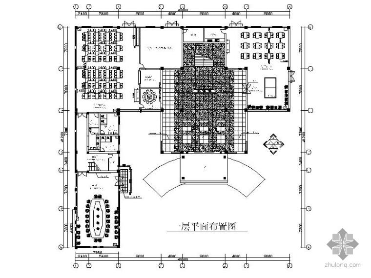 2000㎡现代办公楼室内施工图(含效果图)