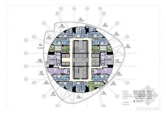 [上海]中心某五星级高档酒店客房室内设计全套概念方案