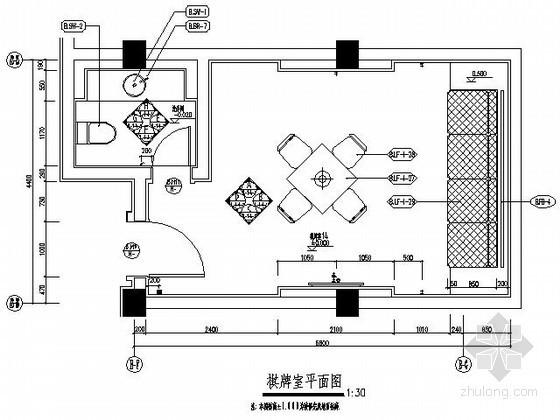 主题酒店棋牌室施工图